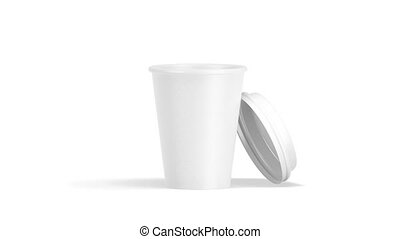 Blank white disposable paper cup mock up isolated, rotates...