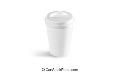 Blank white disposable paper cup with plastic lid mock up...