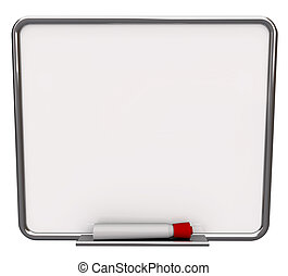 Blank White Dry Erase Board with Red Marker - A white dry...
