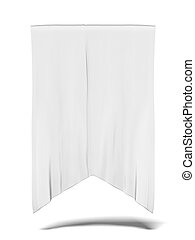 blank white flag isolated on a white background. 3d render