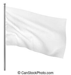 Blank white flag. 3d illustration on white background