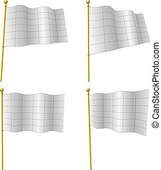 Blank white flags vector template with black grid isolated on white. The grids are on separate layer and can be easily deleted.