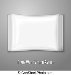 Blank white flat plastic sachet isolated on grey background...