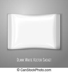 Blank white flat plastic sachet isolated on grey background ...