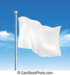 blank white flying flag over blue sky