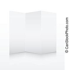 Blank white folded paper