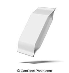 blank white food packaging isolated on a white background