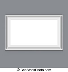 Blank white frame hanging on the grey wall vector template.