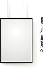 Blank white frame on the wall vector mockup. Illustration isolated on white. Ready for a content