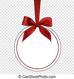 Blank white gift card template with red bow