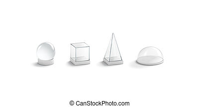 Blank white glass domes mockup set, isolated, 3d rendering. ...