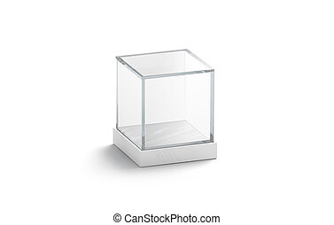 Blank white glass showcase cube mock up, isolated, 3d ...