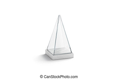Blank white glass showcase pyramid mock up, isolated, 3d ...