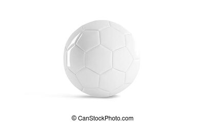 Blank white glossy soccer ball mockup, front view, looped ...