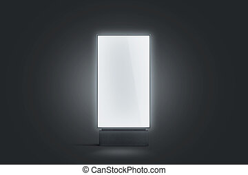 Blank white glowing pylon mockup, isolated in darkness