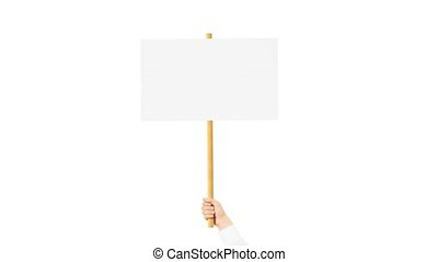 Blank white hand holding white sign mockup on wooden stick...