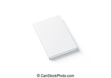 Blank white hard cover book mock up, top view from the side