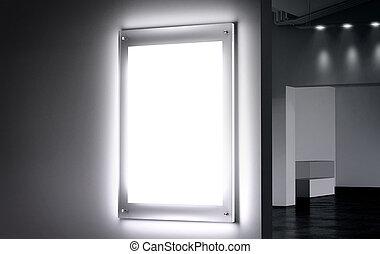 Blank white illuminated poster mock up in dark hall