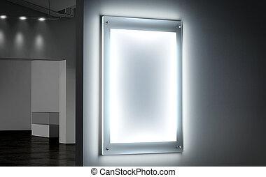 Blank white illuminated poster mockup in dark hall,