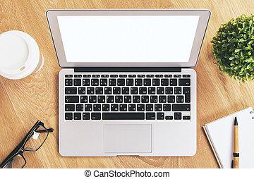 Blank white laptop closeup