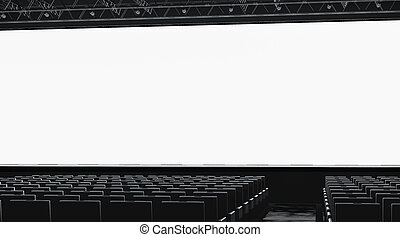 Blank white large screen in presentation hall mockup, side view