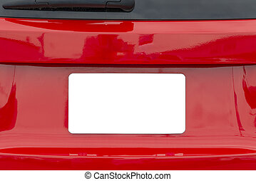 Blank White License Plate On Red Car With Copy Space