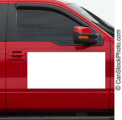 Blank White Magnetic Sign On Red Vehicle With Copy Space