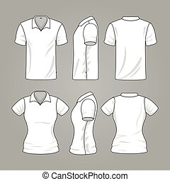 Blank white mens and womens t-shirt outline vector template...