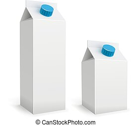 Blank white milk packs isolated