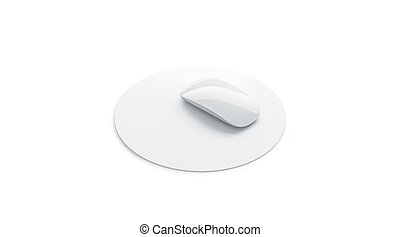 Blank white mouse pad mock up side view, isolated