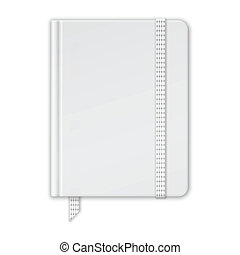 Blank White Notebook. Copybook Template With Band And Bookmark. Vector