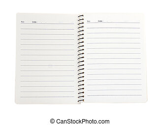 Blank white notebook paper isolate on white background