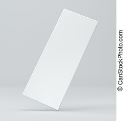 Blank white package on gray background. 3d illustration box template.