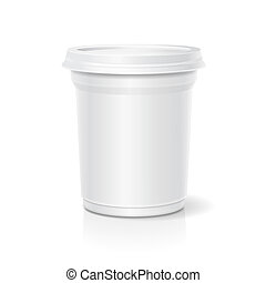 Blank white packaging closed container for yogurt 3d illustration
