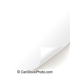 Blank white page curl