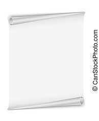 Blank white page with rolled edges
