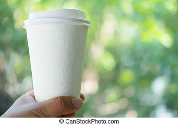 Blank white paper coffee cup mockup