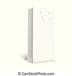 Blank white paper gift bag mockup 3d vector illustration isolated.