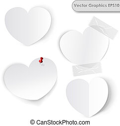 Blank white paper hearts vector template.