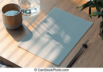 Blank white paper sheet on wooden table in Asian food cafe.. 3d rendering.