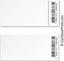 blank white paper ticket