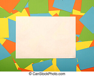 blank white paper with copy space on colorful background