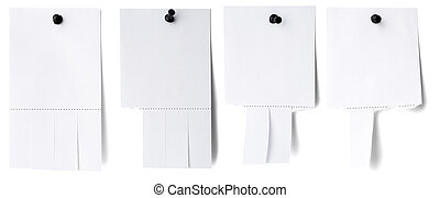 blank white paper with tear off tabs isolated on white