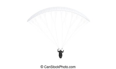 Blank white paraglider with harness mockup, looped rotation, 4k, 3d rendering. Empty parachute with strap for free-flying mock up, isolated. Clear adrenaline sport for sky flight mokcup template.