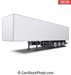 Blank white parked semi trailer - Blank parked van white...