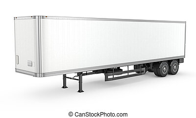 Blank white parked semi trailer, isolated on white...