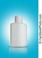 Blank White Perfume Bottle for Mockups on blue background