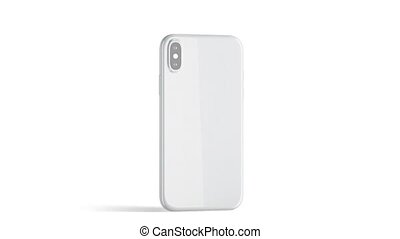 Blank white phone with glossy case, isolated, 3d rendering....