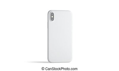 Blank white phone with matte case, isolated - Blank white...