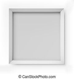 Blank white picture frame isolated on white background vector template.